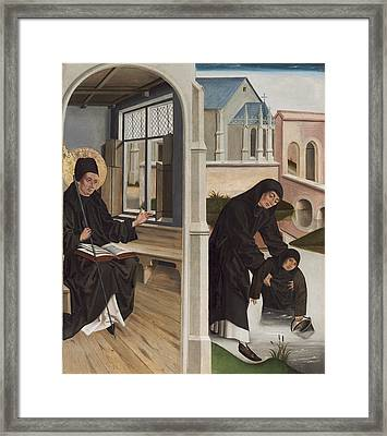 A Miracle Of Saint Benedict Framed Print by French 15th Century