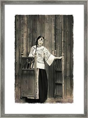A Model In A Period Costume. Framed Print