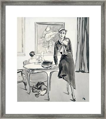 A Model Wearing Designer Clothing Framed Print by Carl Oscar August Erickson