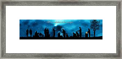 A Modern Nativity Scene.   All Are Welcome At The Manger. Framed Print by Julie Rodriguez Jones