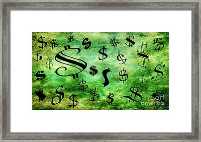 Framed Print featuring the digital art A Money Storm by Andee Design