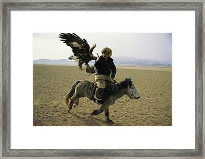 A Mongolian Eagle Hunter In Kazahkstan Framed Print by Ed George