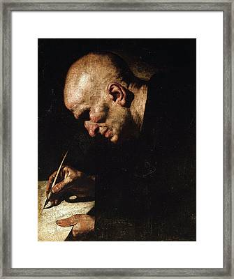 A Monk Scribe  Framed Print by Master of the Annunciation to the Shepherds