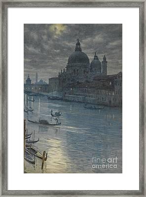 A Moonlight Scene, Venice Framed Print