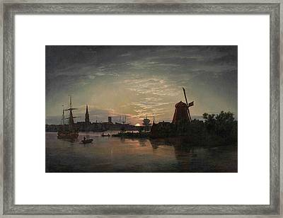 A Moonlit Night At Swinemnde Framed Print