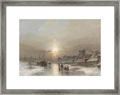A Moonlit Night In Winter Framed Print