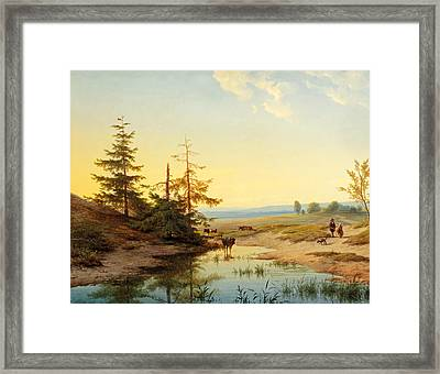 A Moorland With Figures And Cattle By A Pond Framed Print by Cornelis Lieste