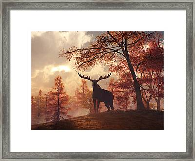 Framed Print featuring the digital art A Moose In Fall by Daniel Eskridge