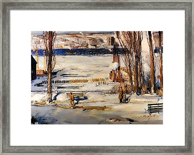 A Morning Snow - Hudson River Framed Print