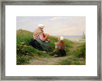 A Mother And Her Small Children Framed Print