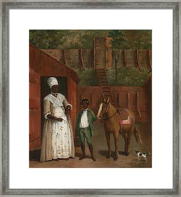 A Mother With Her Son And A Pony Framed Print by Agostino Brunias