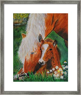 Framed Print featuring the painting A Mothers Love by Leslie Allen