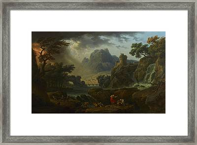 A Mountain Landscape With An Approaching Storm Framed Print