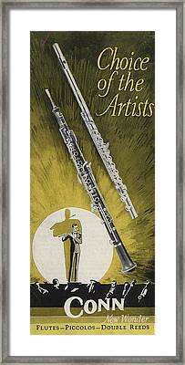 A Musician Playing A Charles Gerard Conn Flute Framed Print