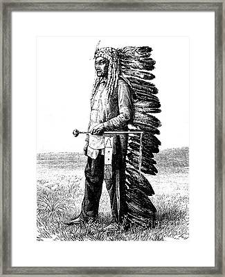 A Native American Framed Print by French School