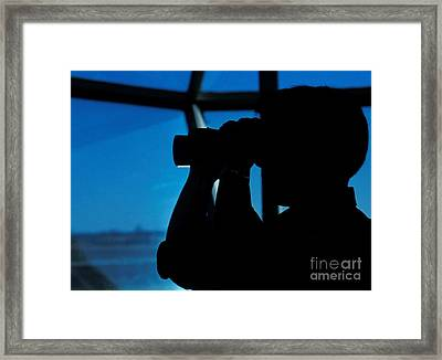 A Navy Air Traffic Controller Maintains Framed Print by Michael Wood