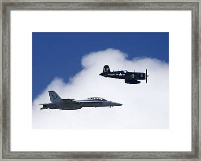 A Navy F-18 And A Wwii Vintage F4u Framed Print by Medford Taylor