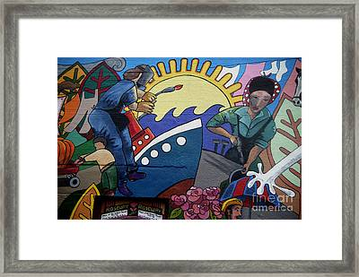 A Neigborhood In Motion Mural  Rosie The Riviter And Wendy The Welder Framed Print by Angelina Marino