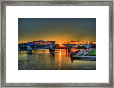 A New Day Chattanooga Sunrise Market Street Bridge Framed Print by Reid Callaway