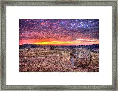Framed Print featuring the photograph Before A New Day Georgia Hayfield Sunrise Art by Reid Callaway