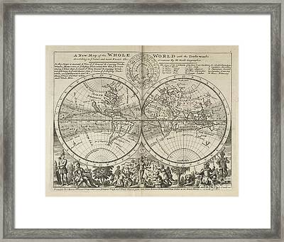 A New Map Of The Whole World With Trade Winds Herman Moll 1732 Framed Print