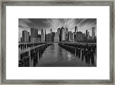 A New York City Day Begins Bw Framed Print by Susan Candelario
