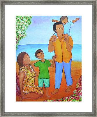 A Nice Family Of Four Framed Print by Gioia Albano