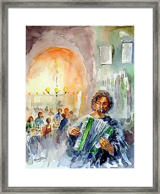 Framed Print featuring the painting A Night At The Tavern by Faruk Koksal