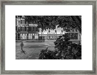 A Night On The Bentonville Arkansas Square Black White Framed Print