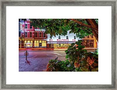 A Night On The Bentonville Arkansas Square Framed Print