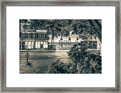 A Night On The Bentonville Arkansas Square Sepia Black White Framed Print by Gregory Ballos