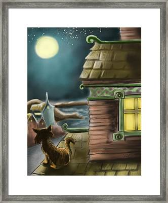 A Night On The Roof Framed Print by Hank Nunes
