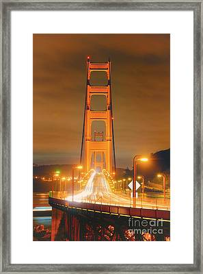 A Night View Of The Golden Gate Bridge From Vista Point In Marin County - Sausalito California Framed Print