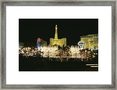 A Night View Of The Water And Light Framed Print by Heather Perry