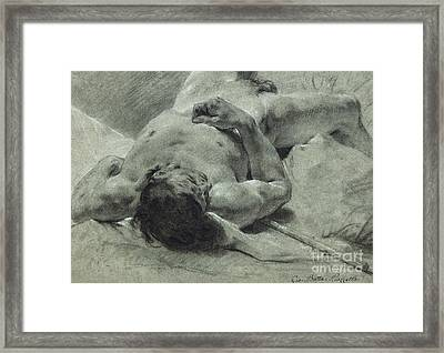 A Nude Youth Sprawled On His Back, Upon A Bank, Lying On A Standard Framed Print