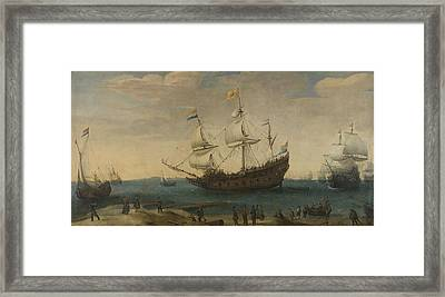 A Number Of East Indiamen Off The Coast The Mauritius And Other East Indiamen Sailing Out Of The Ma Framed Print