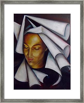 Framed Print featuring the painting A Nun by Irena Mohr