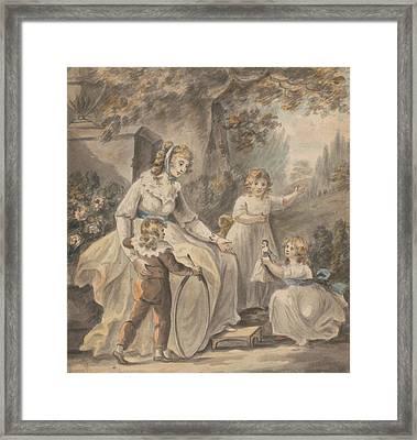 A Nurse With Three Children Framed Print by Paul Sandby