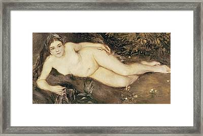 A Nymph By A Stream Framed Print by Pierre Auguste Renoir