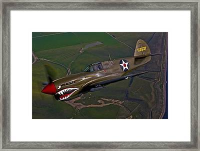 A P-40e Warhawk In Flight Framed Print by Scott Germain