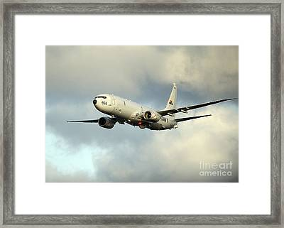 A P-8a Poseidon In Flight Framed Print