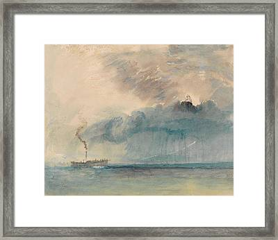 A Paddle-steamer In A Storm Framed Print by Grypons Art