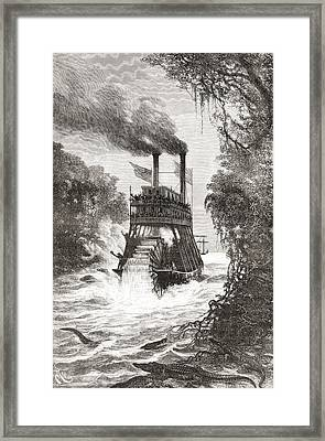 A Paddle Steamer In The Primera Framed Print by Vintage Design Pics