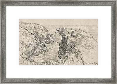 A Page From A Cornish Sketchbook - Cornwall 30 Framed Print by Samuel Palmer