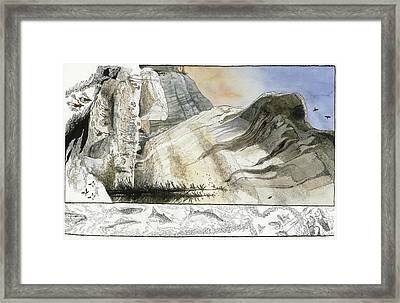 A Painting Depicts A Prehistoric Framed Print by Jack Unruh