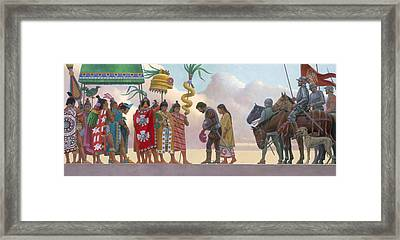 A Painting Of Aztec Ruler Moctezuma II Framed Print by Ned M. Seidler