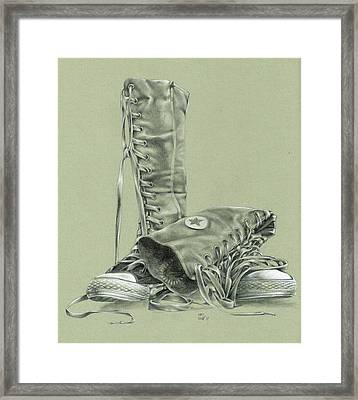 A Pair Of Fake Converse Boots Framed Print