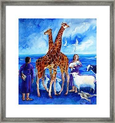 A Pair Of Giraffes Framed Print by Trudi Doyle