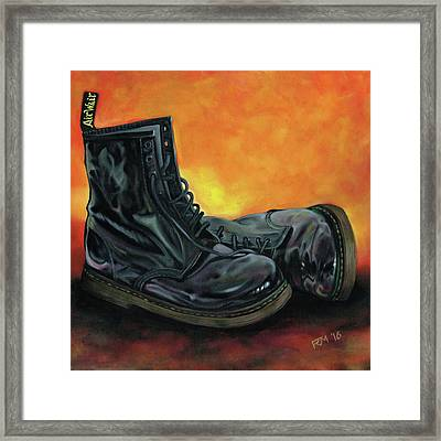 A Pair Of Patent Dr Martens Framed Print