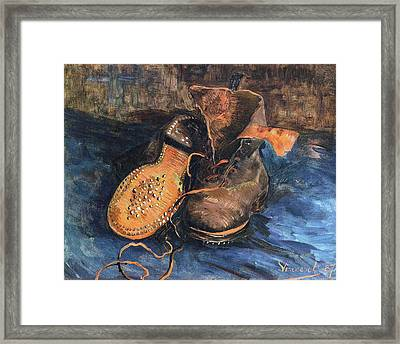 A Pair Of Shoes, 1887 02 Framed Print by Vincent Van Gogh